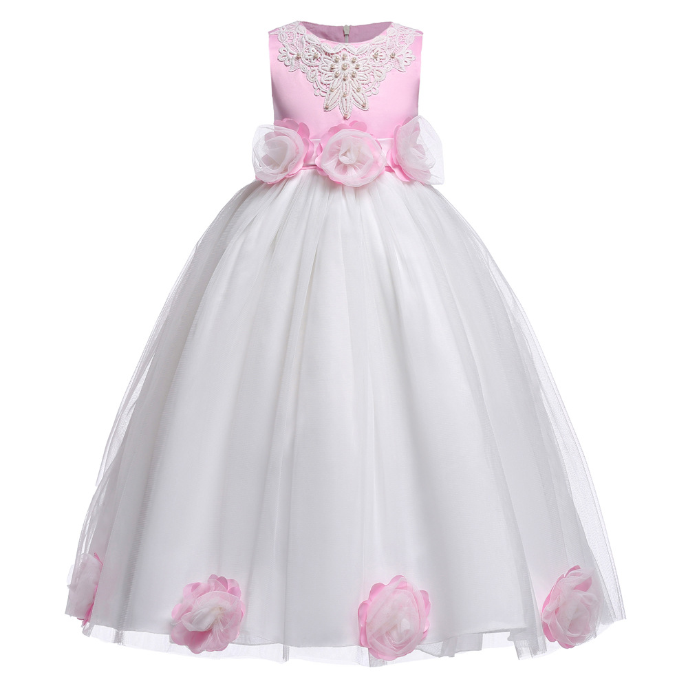 Girl Dresses Embroidery Flower Children Princess Costume Mullet Dress Princess Bridesmaid Wedding Birthday Party Tutu Dress flower girl dress 2017 new girls pearls birthday wedding party princess dresses kids white tutu mesh costume children clothes