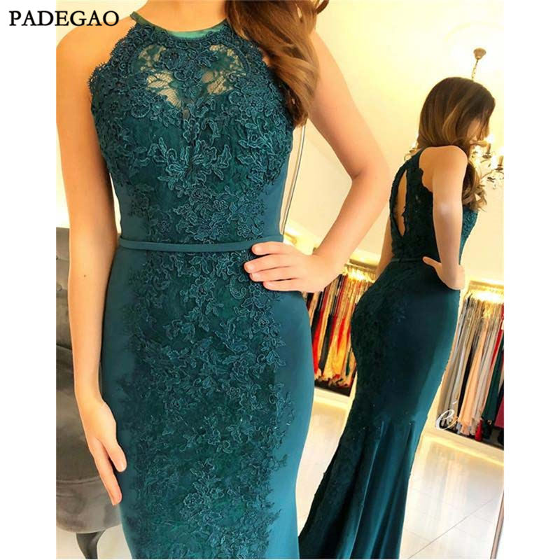 Unique Green   Evening     Dresses   With Lace Appliques Mermaid Prom   Dresses   Sleeveless Hollow Back Sweep Train Formal   Evening     Dress