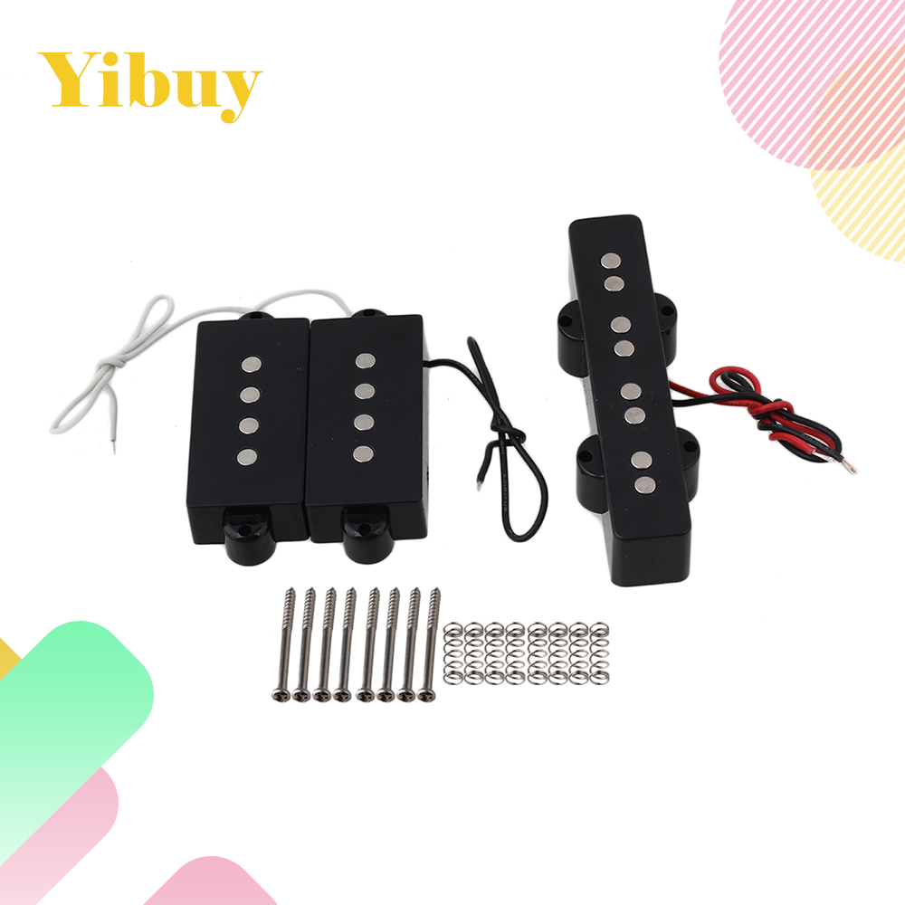 Yibuy JB Bass Bridge Pickup and PB Bass pickups For 4 String bass yibuy 2 pieces noiseless single coil pickup ceramic magnet for 5 string electric bass