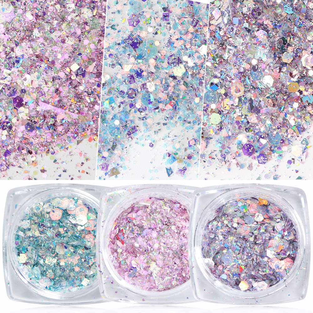 Full Beauty 1 Box Mermaid Glitter Flakes Sparkly 3D Hexagon Colorful Sequins Spangles