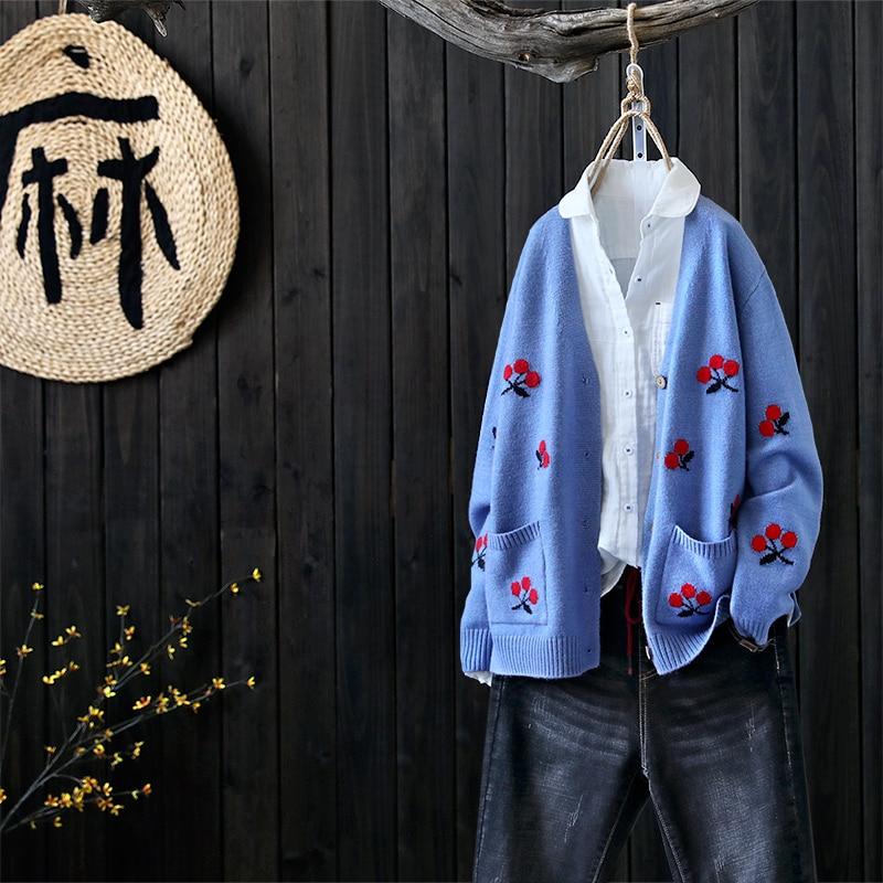 Sweet cherry embroidery v-neck long-sleeve sweater cardigan 2018 autumn  winter mori girl 2c84d8e08