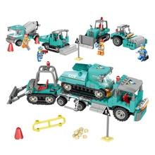 4in1 Urban Engineering Trailer Building Blocks Compatible  City Truck Excavator Bulldozer Construction Toys For Children цены