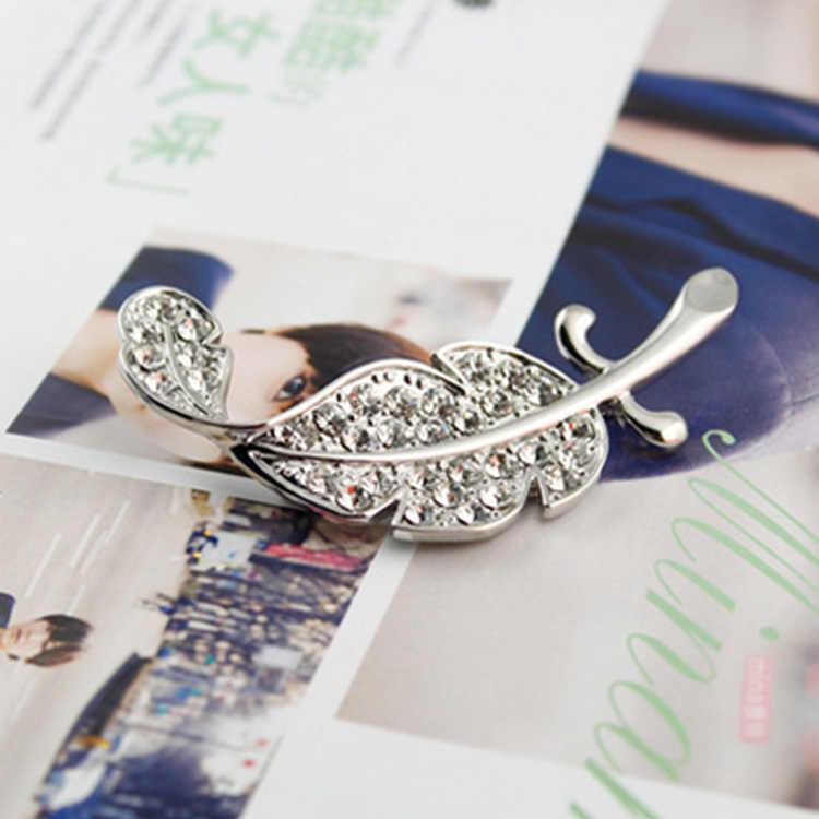 رائعة موضة بسيطة كامل حجر الراين ورقة كبيرة بروش ريشة دبوس هدية الكورية السيدات الرجال ريشة بروش الملابس المخصصة