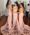 New Style Elegant Blush Pink Lace Appliques Vintage Bridesmaid Dress Spaghetti Straps Sweep Floor Bridesmaid Gowns