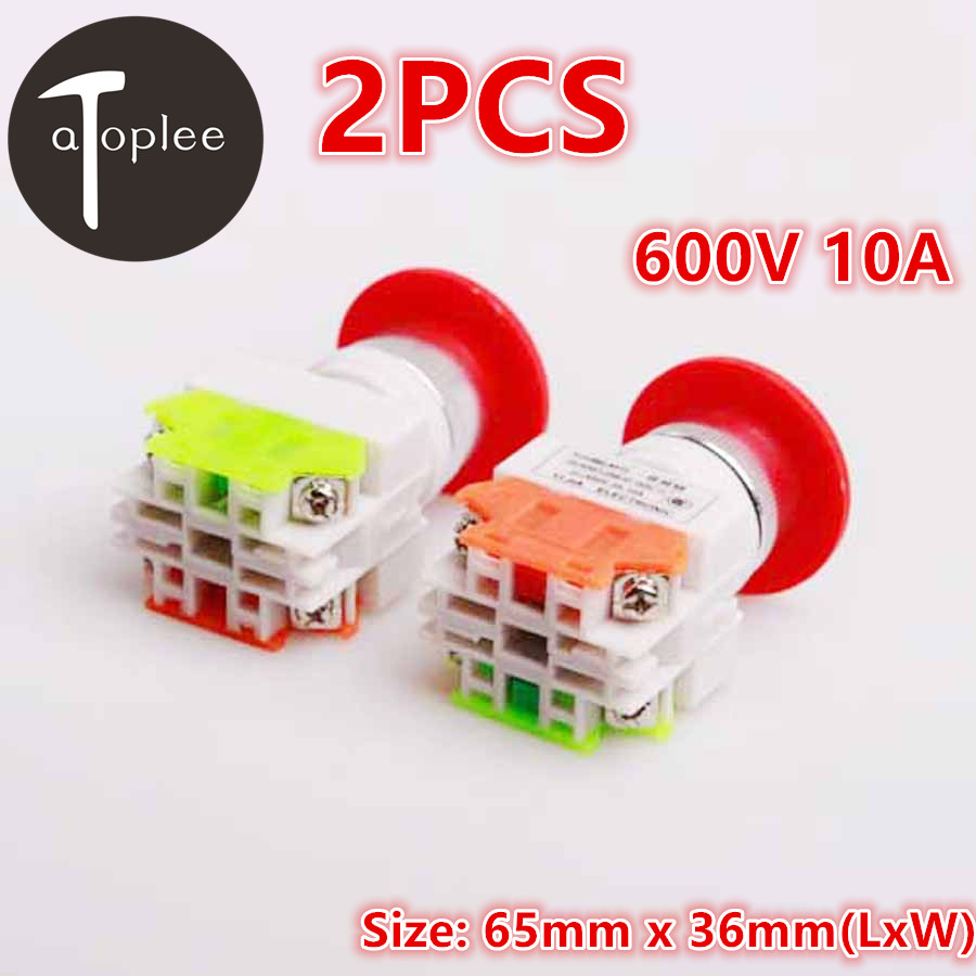 Atoplee 2Pcs 600V 10A Emergency Stop Mushroom Push Button Switch Double-Pole-Single-Throw Switch Button Emergency Switch