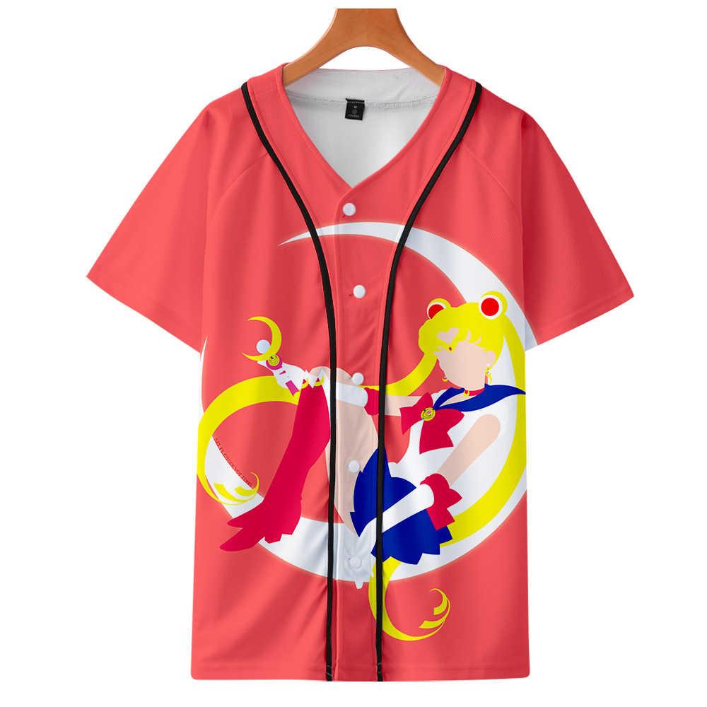 Leisure HIPHOP 3D Sailor Moon print Harajuku baseball t-shirt Vrouwen/Mannen stijl summer Hot Koop Korte Mouw baseball t-shirt