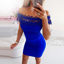 Cuerly Newest Dress Sexy Fashion Summer Women Off Shoulder With Lace Short Sleeve Bodycon Party Evening Mini Dress Clubwear L8