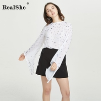 RealShe New Women Shirts Spring Pearls Beading Tops Female Flare Sleeve Zip T Shirt 2018 Ladies