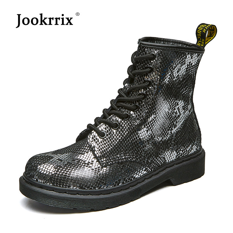Jookrrix 2018 Autumn Fashion Brand Girl Boots Lady Real Leather Shoes Women Martin Boots Cross-tied Breathable Black Cobra Soft jookrrix autumn fashion boots women shoe metal decoration lady genuine leather zipper martin boot breathable black western style page 10