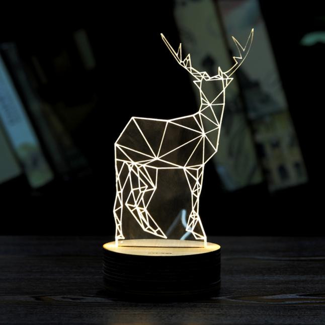 2017 Christmas Deer 3D Unique Lighting Effects Optical Illusion Decor LED Table Lamp Mini Decoration kerstverlichting
