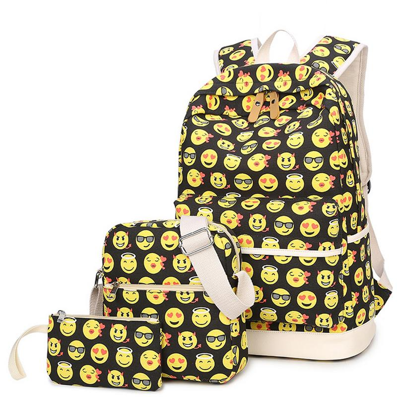 3-Piece School Bag Travel Backpack College Style Print Canvas Backpack For Girl Teenagers Rucksack