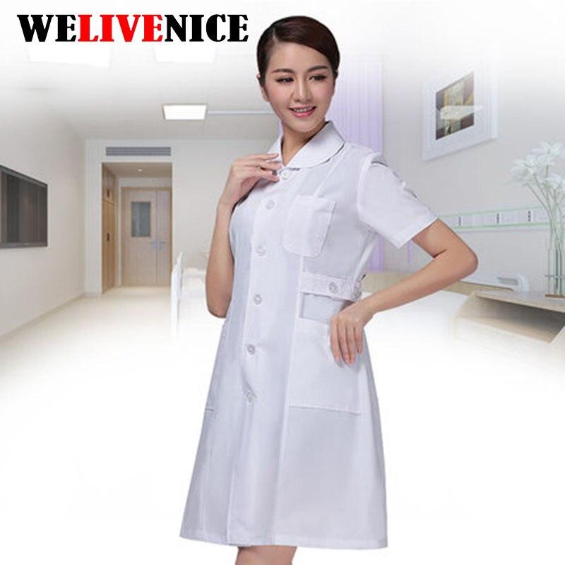 Nurse Uniform Hospital Lab Coat Scrubs Women Short Sleeve Medical Dress Uniforms Clinics Medical Clothes 2017