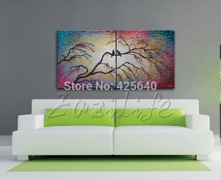 2Piece Hand Painted Palette font b Knife b font Colorful Flower Oil Painting Wall Art Canvas