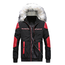 High-quality Men Jacket and Coat Trendy Plus Fur Collar Warm 2018 Winter Fashion Mens Splice Thick Parka coat