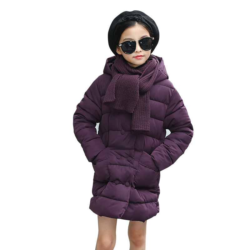 New Design Girls Winter Long Jackets Kids School Coat Hooded Fashion Cotton Down Solid Casual Winter Warm Thick Clothes casual 2016 winter jacket for boys warm jackets coats outerwears thick hooded down cotton jackets for children boy winter parkas