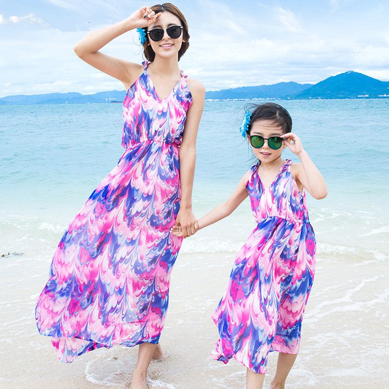 Family Clothing Mother Daughter Dresses 2017 Summer Style Family Matching Outfits Girl Dress Vestidos for Girls