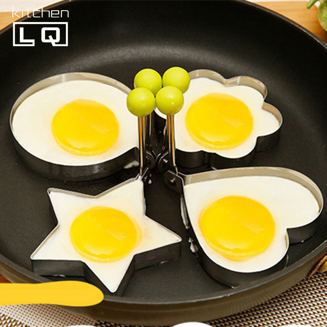 5Pcs Thicken Stainless Steel Heart Shape Cake Omelette Pancake Molds Fried Egg DIY Gadgets Love Round Star Mickey Flower
