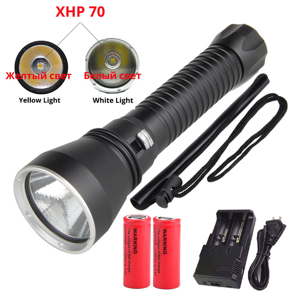 XHP70 LED Yellow/White Light 8000 Lumens Diving Flashlight For diving Tactical 26650 Torch Underwater 200M Waterproof xhp70 diving flashlight white yellow waterproof powerful led torch 3000k 6000k use 26650 battery