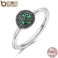BAMOER Genuine 100 925 Sterling Silver Round Green Sparking CZ Finger Rings For Women Sterling Silver