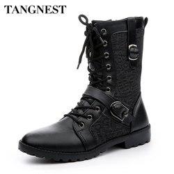 Tangnest الخريف فاسق أحذية الرجال الموضة بولي Leather الجلود الدانتيل متابعة دراجة نارية الأحذية السوداء Vintage عالية أعلى مشبك أحذية رجل XMX516