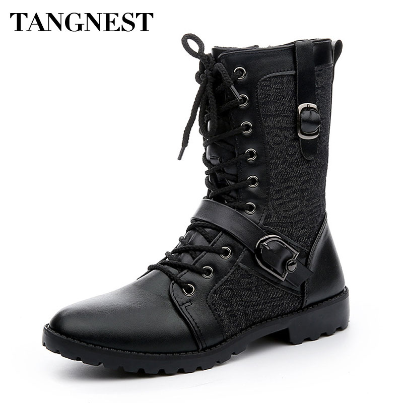 Tangnest Autumn Punk Martin Boots Men Fashion PU Leather Lace-up Motorcycle Boots Black Vintage High Top Buckle Shoes Man XMX516 black lace up pu obi belt