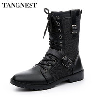 Tangnest Autumn Punk Boots Men Fashion PU Leather Lace up Motorcycle Boots Black Vintage High Top Buckle Shoes Man XMX516
