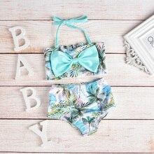 2 шт./компл., милый детский купальник, Кокосовая волновая печать, слинги для девочек, раздельные купальники, пляжная одежда для бассейна, костюм D20