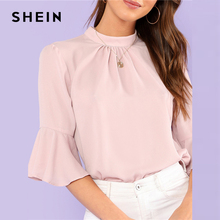 SHEIN Pleated Detail Keyhole Back Flounce Sleeve Top 2018 Summer Half Sleeve Stand Collar Blouse Women Ruffle Elegant Blouse