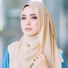 Woman hijab Solid Color Rhinestone Shining High Quality Chiffon Silk Popular Shawls Scarf Headband Muslim Turban 20 Colors