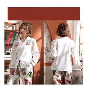 Image 3 - BZEL 여성 잠옷 세트 코튼 긴 소매 피자 마 Mujer 플라밍고 인쇄 Loungewear 도매 캐주얼 잠옷 Femme 빅 사이즈 M 3XL