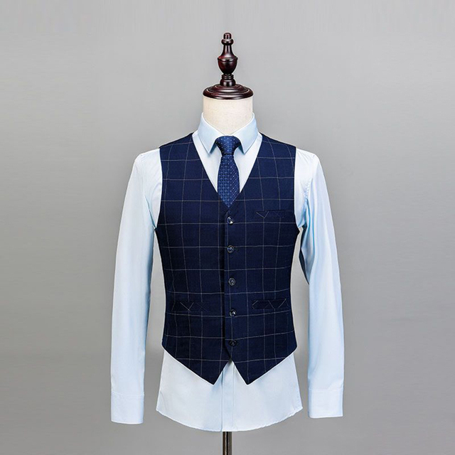 2019 Royal Blue 3 Pieces Mens Suits Plaid Slim Fit Wedding Suits Groom Tweed Wool Tuxedos for Wedding (Jacket+Pants+Vest)  2