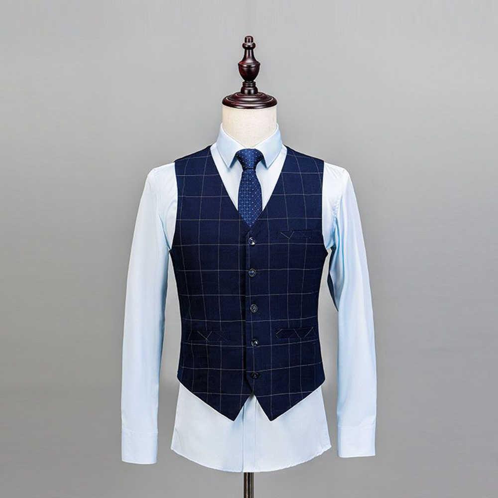 2019 ロイヤルブルー 3 個メンズスーツチェック柄スリムフィットの結婚式のスーツ新郎ツイードウールタキシード結婚式のための (ジャケット + パンツ + ベスト)