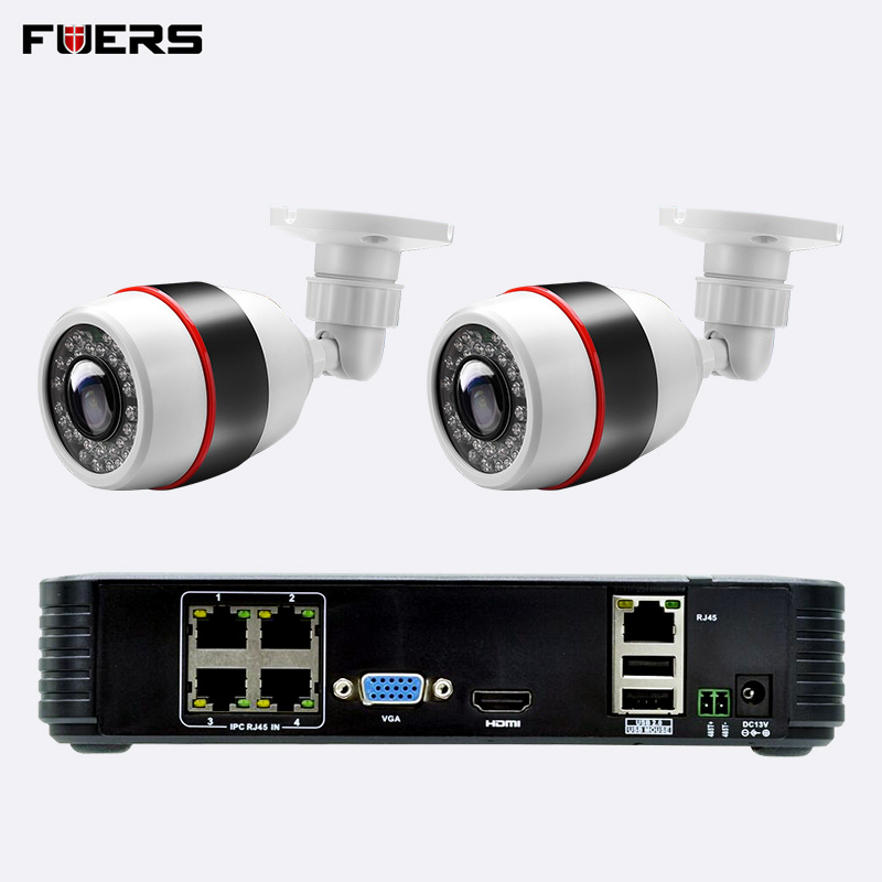 FUERS 1080P Full HD 4CH POE NVR WiFi IP Camera NVR Video Recorder Kits 4 Channel