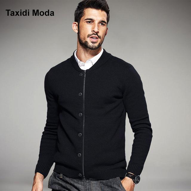 2017 Primavera Dos Homens Blusas Moda Zíper Estilo de Botão Malha Cardigan de Tricô Roupas de Marca do Homem Magro Malhas Sweatercoats