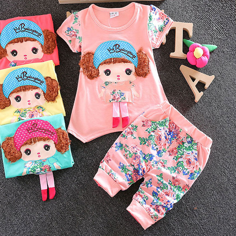 New Summer Baby Girls Clothes Cartoon Flower Printed Kids Cloth Korean version Infant Bebe Dress 2PCS Child Sets Lovely Clothing girls summer new arrival korean dress children clothes little child rose flower lace chiffon dress kids clothes pink green
