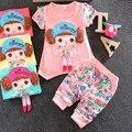 New Summer Baby Girls Clothes Cartoon Flower Printed Kids Cloth Korean version Infant Bebe Dress 2PCS Child Sets Lovely Clothing