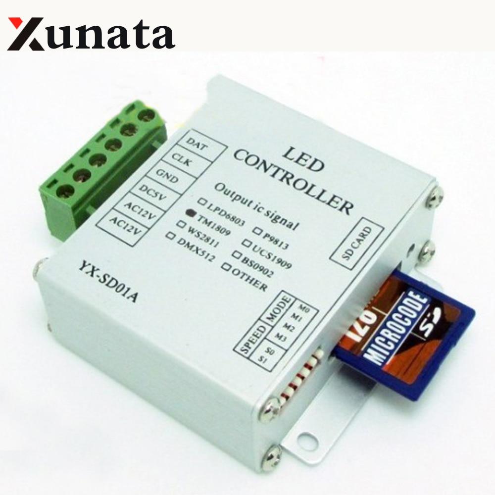 Mini SD Card RGB Pixel controller WS2811 WS2812B LPD6803 SK6812 TM1809 UCS1903 DMX512 Full color controller DC 12-24V / DC 5V