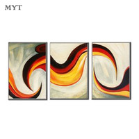 Home Decor Abstract radiation Yellow Pictures 3PS Oil Painting On Canvas Handmade Modular Wall Art For living Room Unframed