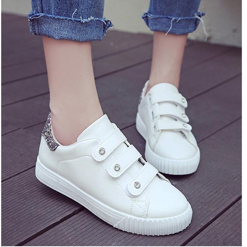 2018 Frau Schuhe Non-slip Casual Für Frau Pu Leder Sneakers Atmungsaktive Lace Up Outdoor Weiß Schuhe Tenis Feminino