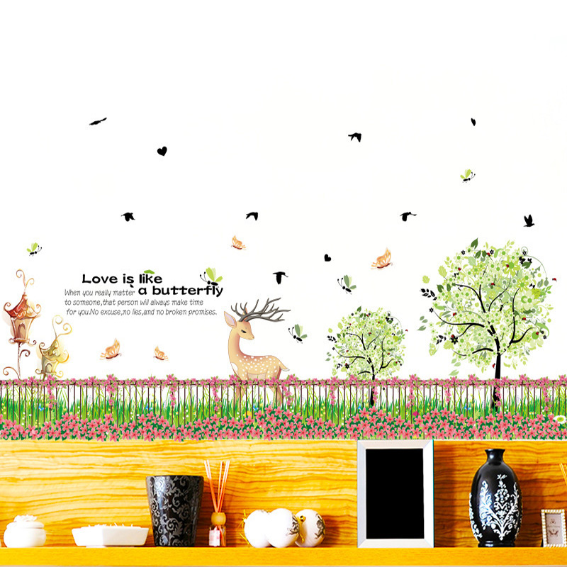 Flower Grass Fence Corner Line Wall Stickers Vinyl Diy Garden Fence Wall Decals For Living Room Kids Room Home Decor Stickers Wall Decals Wall Stickerdecorative Stickers Aliexpress