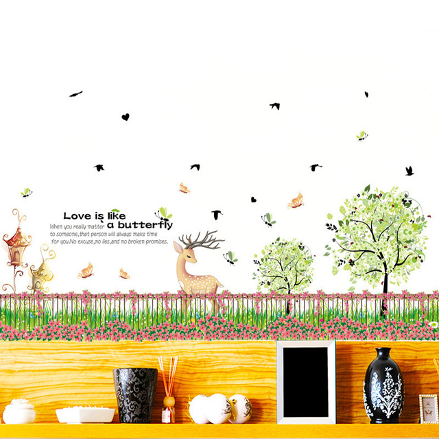 flower grass fence corner line wall stickers vinyl diy garden fence