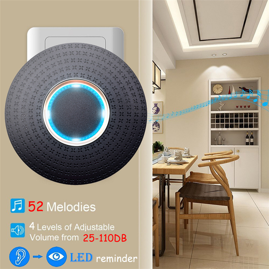 SMATRUL New Waterproof Wireless Doorbell EU Plug 300M Remote smart Door Bell Chime ring  1 2 button 1 2 3 receiver no battery Deaf Gorgeous lighting black 4