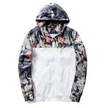 New Fashion Spring Autumn Casual Bomber Jacket Hooded Slim Coat Hip Hop Floral Print Jacket Windbreaker Zipper Jacket Size M-4XL