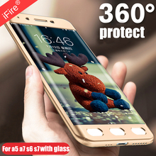 Фотография 360 degree full body Protection Phone Cases For Samsung Galaxy S7 S6 edge S8 Plus Note 8 A5 A7 2016 2017 Cover case + WITH GLASS