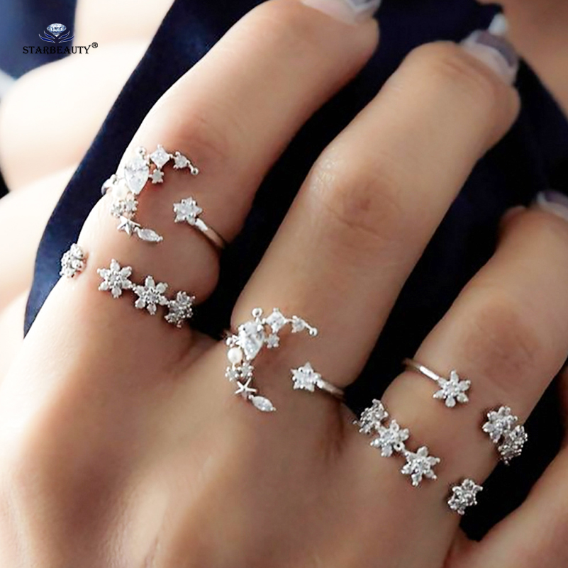 OPEN 5pcs/lot Bohemia Moon Toe Ring Set Crystal Star Wedding Ring Set Midi Knuckle Ring Thin Fingers Toe Rings For Women Jewelry