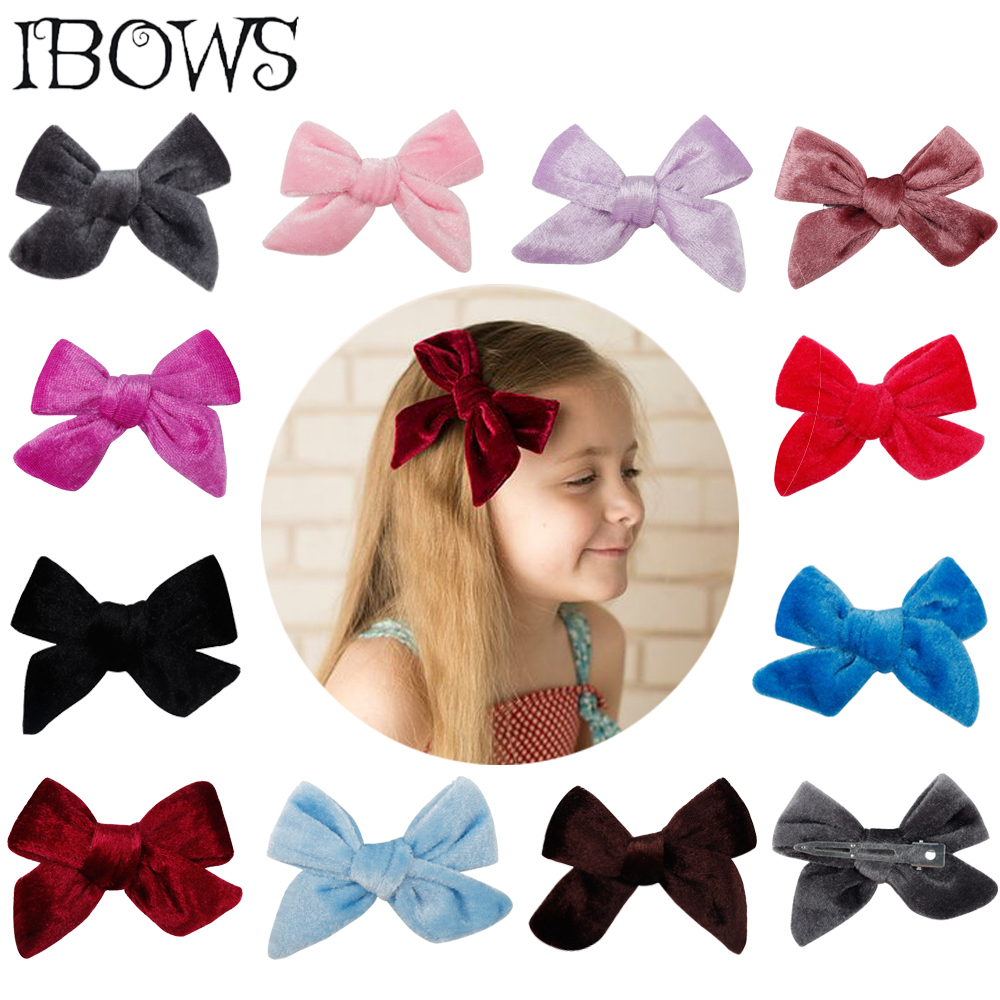 11Pcs Lot Hair Accessories Solid Velvet Hair Bows Lovey Hair Clips For Girls Kids Hairgrips Handmade Bow knot Hairpins Headwear in Hair Accessories from Mother Kids