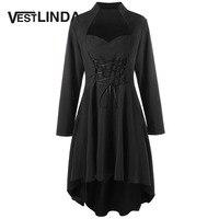 VESTLINDA Tops Tees Gothic Sweetheart Neck Long Tees Plus Size 5XL Lace Up Dip Hem Tunic