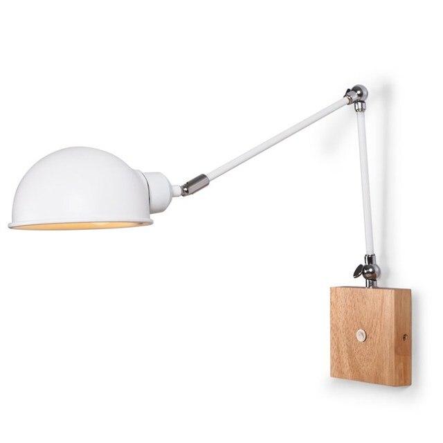 Adjule Wooden Wall Lamps Modern Foldable Sconce White Bedside Lights For Bedroom Matel Reading Home Lighting