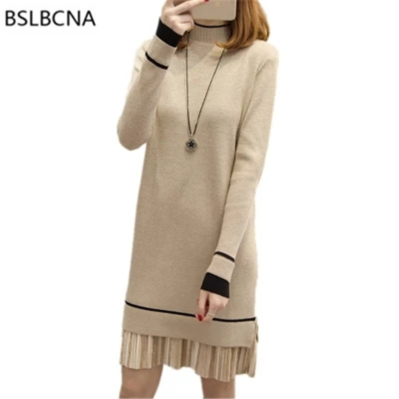 2018 Autumn Winter Dress Sexy Plus Size Knitted Sweater Women Patchwork Long Sleeve Mini Dresses Casual Loose Knitwear A520