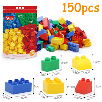 DOLLRYGA 150pcs Block With Car Bxod Big Bricks Parts jouet enfant Kids Craft DIY Bulk Building Blocks Birthday Gift Mixed Color